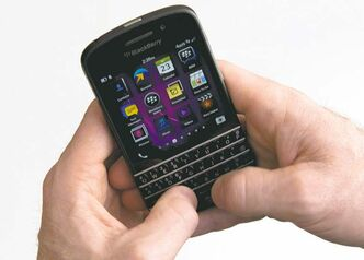 The BlackBerry Q10 smartphone can separate business material from personal.