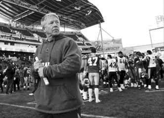 Former Bombers coach Tim Burke at Investors Group Field on Nov. 2.