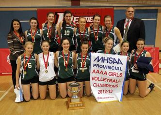 The Neelin High School girls team wins the AAAA Volleyball Championship game at the Duckworth Centre Monday against the MBCI Hawks.