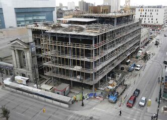 Crews recently started pouring concrete for the first floor of the 15-storey Alt hotel at 311 Portage Avenue.