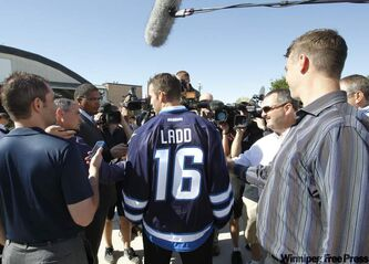 Winnipeg Jets Captain Andrew Ladd at a ceremony at 17 Wing Tuesday, where the Winnipeg Jets unveiled their dark home and white away jerseys.