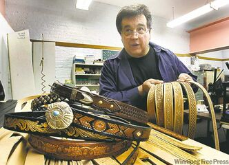 Out of prison after 23 years, Frank Ostrowski is trying to make a living making custom belts in his Winnipeg shop.