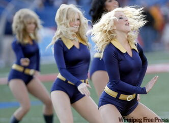 Winnipeg Blue Bombers Blue Lightning Dance Team perform during a game in a file photo.