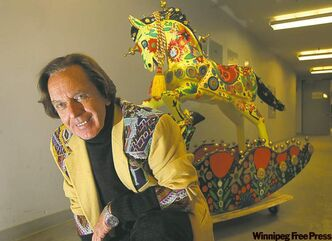 The colourful Cranston and his equally colourful steed will be at the Manitoba Museum today through Saturday.