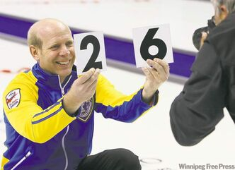 After practice Friday, Alberta skip Kevin Martin shows he comes into this year's Brier men's national curling championship in London, Ont., with a 26-0 record.