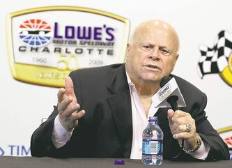 Lowe's Motor Speedway owner Bruton Smith talks about the 50th anniversary of the NASCAR Sprint Cup series Coca-Cola 600 auto race during a news conference in Concord, N.C., Saturday, May 23, 2009. (AP Photo/Terry Renna)