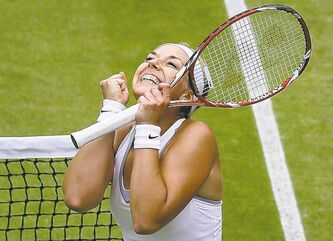 Sabine Lisicki celebrates a quarter-final victory over Kaia Kanepi in Wimbledon, London, Tuesday.
