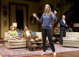 This theater image released by Jeffrey Richards Associates shows, from left, Carrie Coon , Madison Dirks, Amy Morton and Tracy Letts in a scene from