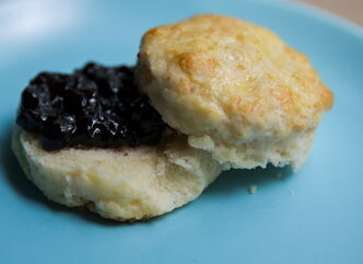 Miniature cream tea scones (with jam).
