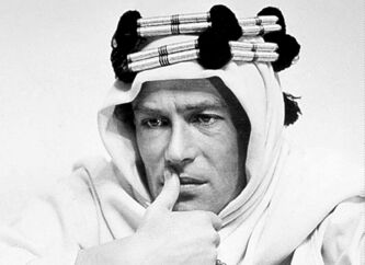 O'Toole portrays Lawrence of Arabia, his most famous movie role.