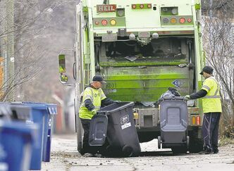 An Emterra crew collects trash in the Wolseley neighbourhood in November.