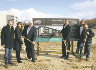 (From left): EdgeCorp Group CEO Keith Merkel, Executive Director of the Transcona BIZ Wendy Galagan, Coun. Russ Wyatt (Transcona), Elmwood-Transcona MP Lawrence Toet, and Mark and Rick Hofer from EdgeCorp turn the sod at the location of The Station on Pandora Avenue West last week.