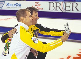 Manitoba skip Jeff Stoughton (left) and New Brunswick skip James Grattan are each making their 11th Brier appearance this week.