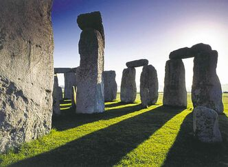 Stonehenge looking northeast  at sunrise.