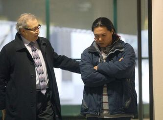 Father Steve Sinclair (right) of  the late Phoenix Sinclair is briefed by lawyer Jeff Gindin before he enters the Phoenix Sinclair inquiry. He was to testify for the first time this morning at the Winnipeg Convention Centre. Today will be his first time he has had a chance to respond about how the social workers handled him and his daughters case. -