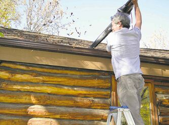 A leaf blower can be used to clean out gutters.