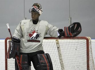 Team Canada goalie Malcolm Subban looks up ice during practice at the IIHF World Junior Championships in Ufa, Russia on Thursday, Dec. 27, 2012. THE CANADIAN PRESS/Nathan Denette