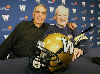 The Winnipeg Blue Bombers announced the 2014 Hall of Fame inductees today, including former player Jim Heighton, left, and former board member/club historian  Bill Morton.