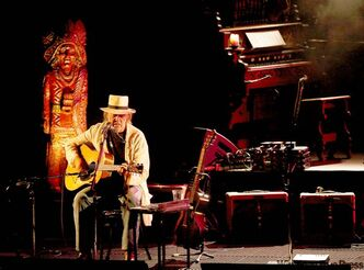 Neil Young perfoms before a sold-out Centennial Concert Hall Monday night.