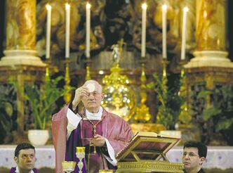 Cardinal Marc Ouellet celebrates Mass at the Santa Maria in Transpontina church in Rome, Sunday.