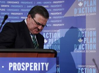Finance Minister Jim Flaherty concludes a news conference prior to the release of his budget in Ottawa, Thursday March 21 2013.THE CANADIAN PRESS/ Fred Chartrand