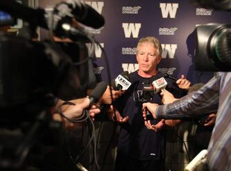 Winnipeg Blue Bombers head coach Tim Burke speaks with media at Canad Inns Stadium Monday a day after the 25-24 loss to the Saskatchewan Roughriders.