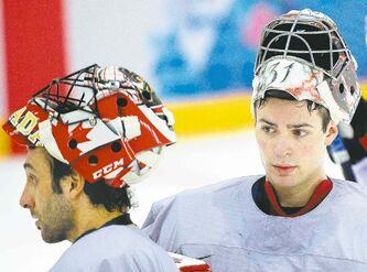Canadian goalies Roberto Luongo (left) and Carey Price will split starts in the opening two games of the preliminary round. Price gets the start today against Norway.