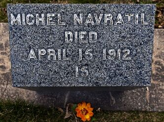 Titanic victim Michel Navratil's grave marker is seen in the Baron de Hirsh Cemetery, a Jewish cemetery, in Halifax on Thursday April 5, 2012. Navratil assumed the name of his friend Louis Hoffman, kidnapped his sons after his marriage failed and headed to America on the ill-fated vessel. Navratil perished and the boys were saved. THE CANADIAN PRESS/Andrew Vaughan