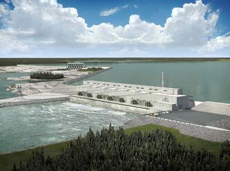 A rendering of the Keeyask generating station.