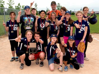 The Corydon Comets U12 C girls' softball team will attend provincials from July 5 to 7 after knocking off rival Riverview in the city finals. Front row (L to R): Claire DePasquale, Marina Matheson, Genevieve Harms, Rachel Watt. Middle row (L to R): Erica Jeffers, Clare Munro-Dodds, Alex Waxman, Hannah Morley, Chanel Cassie, Jenna Hoff. Back row (L to R): Simon DePasquale (Asst. Coach), Paul DePasquale (Coach), Avery Rainville, Jennifer Henrickson. Not pictured: Genevieve Casper and Kendra Levreault.