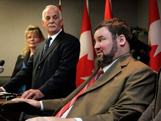 Manitoba Conservative MPs Steven Fletcher (right) and Shelly Glover (left) are among those thought to have a chance of replacing Vic Toews (centre) as Manitoba's regional minister.