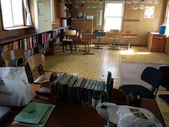 The classroom at an Old Order Mennonite community remains empty.