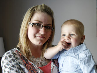 Nicole Gamble, a registered nurse and volunteer facilitator of a post partum depression support group at the Mood Disorders Association of Manitoba, with her 16-month old son Oliver in their West End home. Lisa Gibson, the mother of two children who were found drowned in a bathroom tub earlier this week, is suspected to suffer from post partum depression.