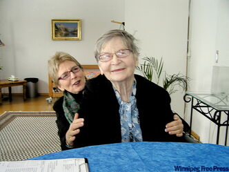 Kathleen (Kay) Carter, 89, and her daughter Lee Carter at the Dignitas clinic in Zurich, Switzerland, shortly before Kay died by assisted suicide. She wore a blue floral scarf, given to her by her sister for the occasion.