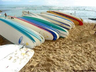 Surfboards on Waikiki Beach.