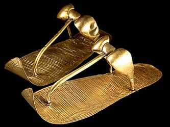 Tutankhamun's Golden Sandals have engraved decoration that replicates woven reeds.