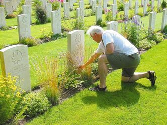 Martin Urquart pays his respects at a Canadian war cemetery for soldiers killed in the Second World War, mainly during the battles to liberate western Europe.