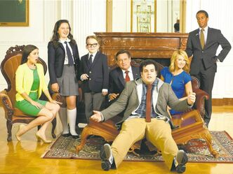 Martha MacIsaac as Becca, Amara Miller as Marigold, Benjamin Stockham as Xander, Bill Pullman as Dale, Josh Gad as Skip, Jenna Elfman as Emily and Andre Holland as Marshall Malloy in 1600 Penn.