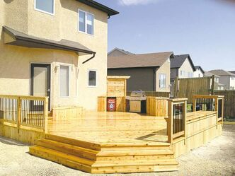 Jets Western Red Cedar deck by DeHart Construction of Winnipeg.