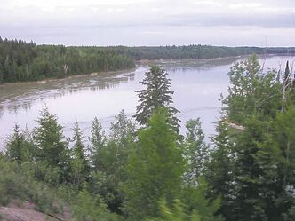 A view of the Nelson River from the 250-metre rail bridge crossing.
