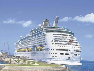 Like all large ships visiting Bermuda, Royal Caribbean�s Explorer docks at King�s Wharf.