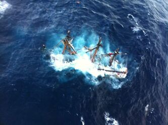 Photo provided by the U.S. Coast Guard shows the HMS Bounty submerged in the Atlantic Ocean during Hurricane Sandy, approximately 90 miles southeast of Hatteras, N.C., Monday, Oct. 29, 2012.