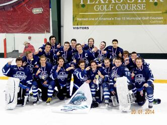 The River East Kodiaks are shown after capturing the 2014 Texas Star Winter Classic U18 division in Texas earlier this month.
