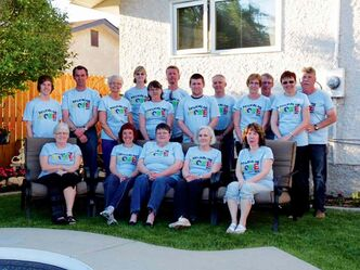 Local residents who helped with a build in Mexico are shown. Back row: Cameron and Bruce Wiebe, Fran Anderson, Cheryl Hodgson, Gloria Pachet, Dennis Kachur, Aaron Wiebe, Michael Langedock, Dorothy and Bob Franklin, Yvonne and Glen Vincent. Front row: Gay Todd, Nannette Langedock, Barbara Haddow, Margaret Farley, Sharon Wiebe.
