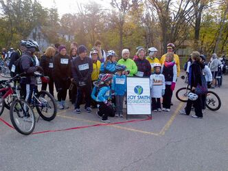 Riders at the inaugural Ride for Refuge in support of the Joy Smith Foundation are shown.