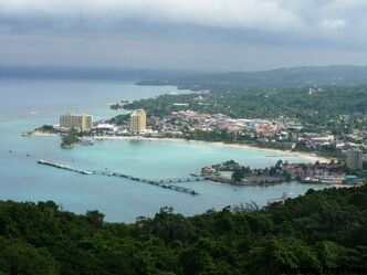View of Ocho Rios from Mystic Mountain's Sky Explorer chairlift.
