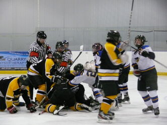 A melee broke out on the ice during a Interlake bantam boys minor hockey playoff game in Stonewall on March 30. The game, which saw the Stonewall Blues win the league title with a 5-1 win over Lake Manitoba First Nation, was called by officials with 11 minutes remaining in the third period.
