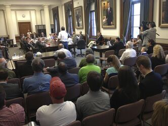 William Pfeiffer speaks to the standing committee during the public PST hearings at the Legislative Building Thursday.