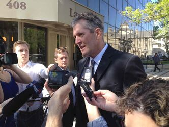 Progressive Conservative Party Leader Brian Pallister  talks to media prior to the PST court case Wednesday morning.