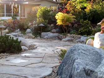 A winding pathway made of natural-looking irregularly shaped Rosetta Grand Flagstone leads to the newly installed inground pool and sunroom.